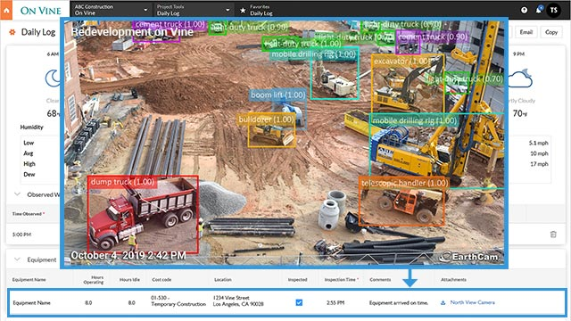 AI Image Recognition of Jobsite Equipment and Vehicle Tracking
